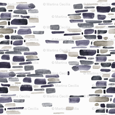 Mosaic watercolor brushstrokes - gray and sandstone