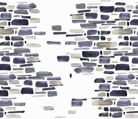 Mosaic watercolor brushstrokes - gray and sandstone fabric by aliceelettrica on Spoonflower - custom fabric