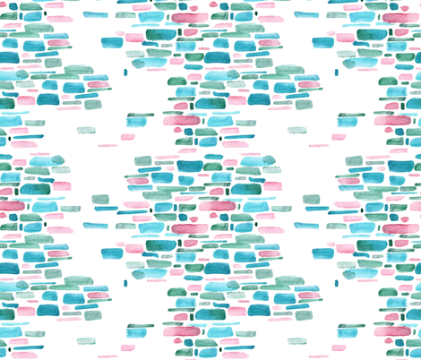 Mosaic watercolor brushstrokes - teal and salmon fabric by aliceelettrica on Spoonflower - custom fabric