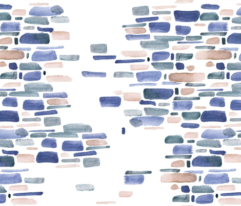 Mosaic watercolor brushstrokes - indigo and ochre fabric by aliceelettrica on Spoonflower - custom fabric