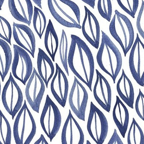 Hand drawn watercolor ikat - indigo and white