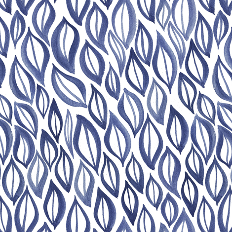 Hand drawn watercolor ikat - blue and white fabric by aliceelettrica on Spoonflower - custom fabric