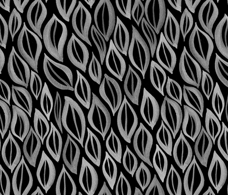 Hand drawn watercolor ikat - black and white fabric by aliceelettrica on Spoonflower - custom fabric