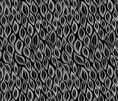 Hand drawn watercolor ikat- black and white fabric by aliceelettrica on Spoonflower - custom fabric