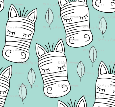 zebra-and-leaves-on-teal