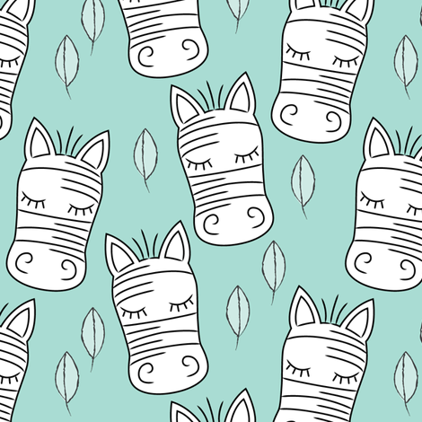 zebra-and-leaves-on-teal fabric by lilcubby on Spoonflower - custom fabric