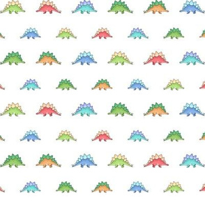 Little Stegosaurus - Green, Blue, Red and Orange