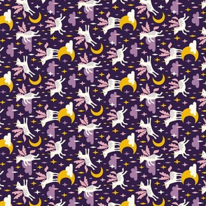 Unicorns in the sky in purple (mini/dark) Rotated