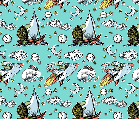 SMEtortoise_hare fabric by shannonme on Spoonflower - custom fabric