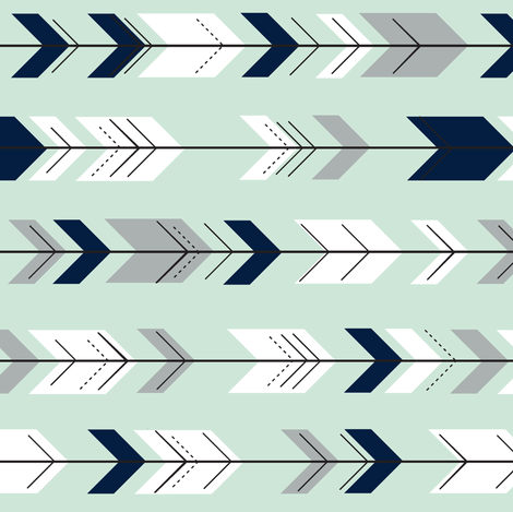 Fletching arrows (small scale) // Northern Lights - Mint (90) fabric by littlearrowdesign on Spoonflower - custom fabric