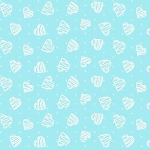 Happy Hearts White On Aqua