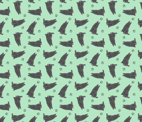 Tiny Belgian Sheepdogs - green fabric by rusticcorgi on Spoonflower - custom fabric