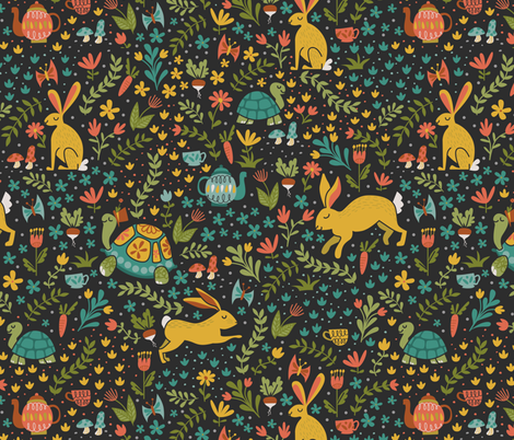 The Tortoise and the Hare fabric by latheandquill on Spoonflower - custom fabric