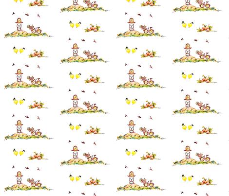 Girlhood memory of watching birds make nests fabric by lissikaplan on Spoonflower - custom fabric