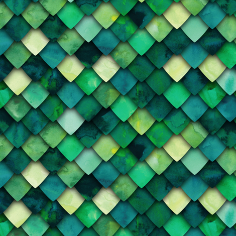 dragon scales - green multi fabric by littlearrowdesign on Spoonflower - custom fabric