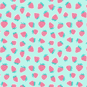 (small scale) strawberries - dark pink on light aqua C18BS