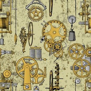 old steampunk gears micro print