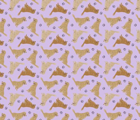 Tiny Golden Retrievers - purple fabric by rusticcorgi on Spoonflower - custom fabric