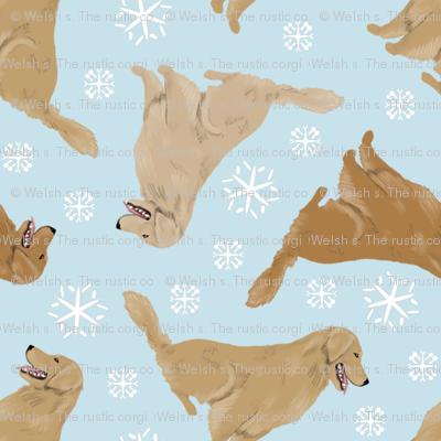 Tiny Golden Retrievers - winter snowflakes