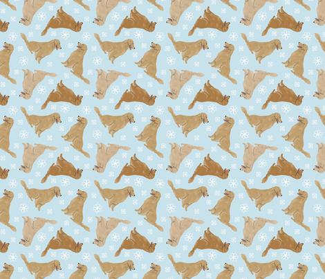Tiny Golden Retrievers - winter snowflakes fabric by rusticcorgi on Spoonflower - custom fabric