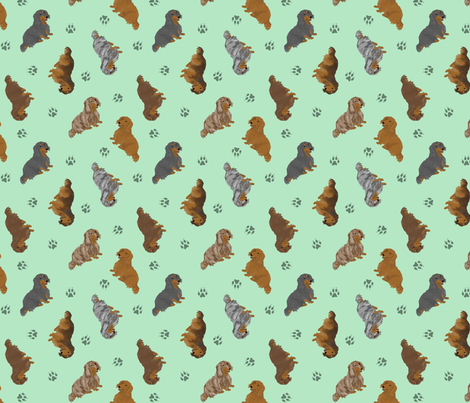 Tiny Longhaired Dachshunds - green fabric by rusticcorgi on Spoonflower - custom fabric