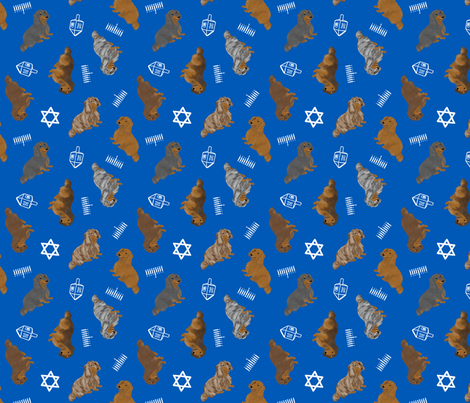 Tiny Longhaired Dachshunds - Hanukkah fabric by rusticcorgi on Spoonflower - custom fabric