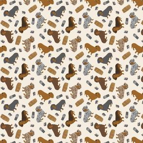 Tiny Smooth Dachshunds - barn hunting