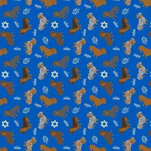 Tiny Smooth Dachshunds - Hanukkah