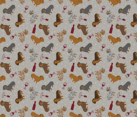Tiny Smooth Dachshunds - wine fabric by rusticcorgi on Spoonflower - custom fabric
