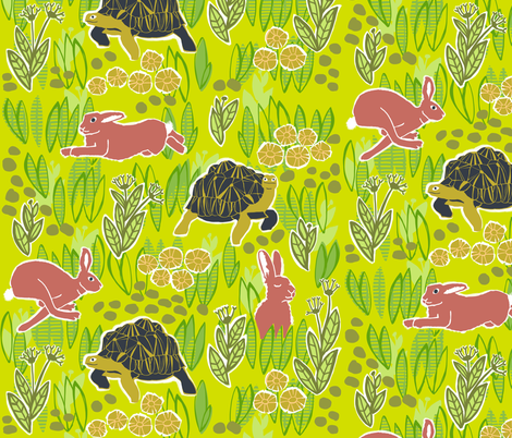tortoise and hare 5 fabric by kheckart on Spoonflower - custom fabric
