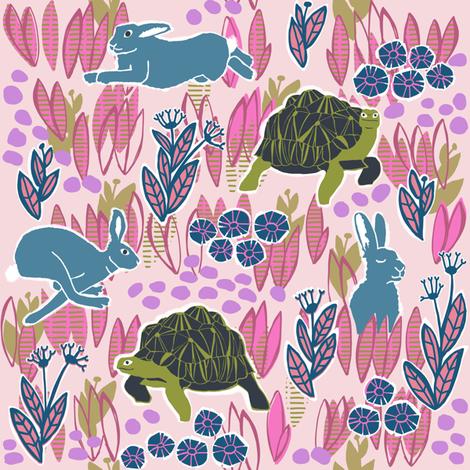 tortoise and hare 3 fabric by kheckart on Spoonflower - custom fabric