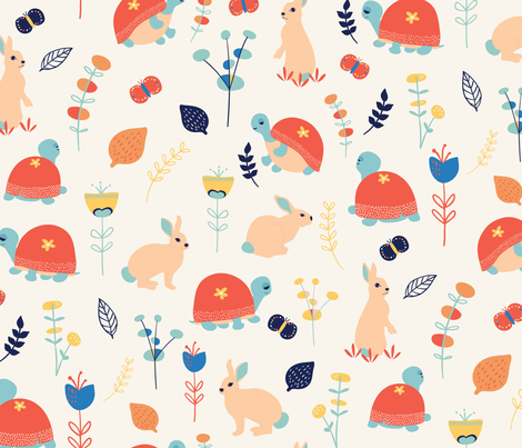 Tortoise and the Hare fabric by monicamota on Spoonflower - custom fabric