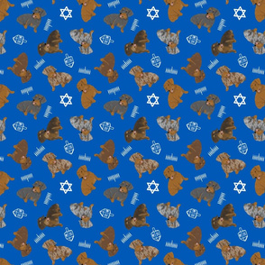 Tiny Wirehaired Dachshunds - Hanukkah