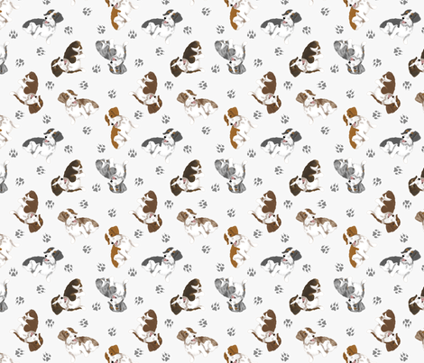 Tiny piebald Wirehaired Dachshunds - gray fabric by rusticcorgi on Spoonflower - custom fabric