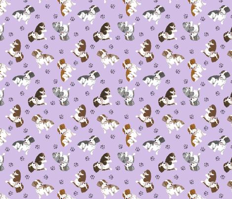 Tiny piebald Wirehaired Dachshunds - purple fabric by rusticcorgi on Spoonflower - custom fabric
