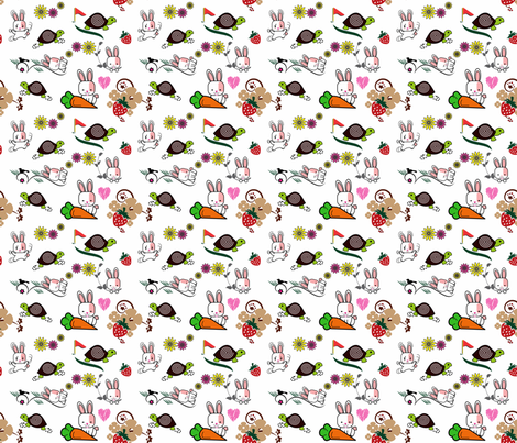 Tortoise and Hare playing in the garden fabric by mysso on Spoonflower - custom fabric