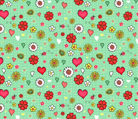 Garden Sketches Green fabric by bags29 on Spoonflower - custom fabric
