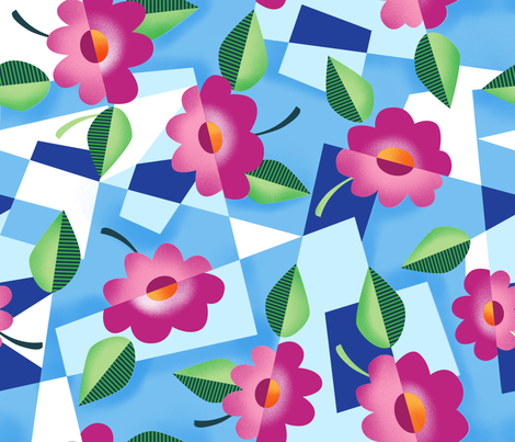 Art Deco Floral fabric by vinpauld on Spoonflower - custom fabric