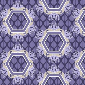 Purple Lotus Blossom Hexagons Geometric Floral Print
