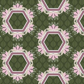 Lotus Blossom Hexagons in Olive Green and Rose Pink