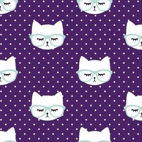 cats with glasses - dark purple polka