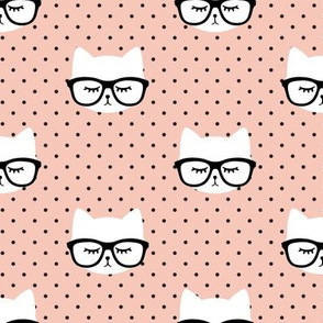 cats with glasses  - salmon peach polka