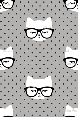 cats with glasses - polka grey