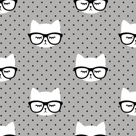 cats with glasses - polka grey fabric by littlearrowdesign on Spoonflower - custom fabric