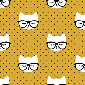 cat with glasses - mustard polka