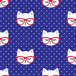 cats with glasses - polka on blue