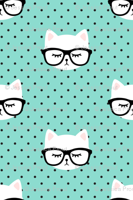 cats  with glasses - dark aqua polka