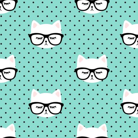 cats  with glasses - dark aqua polka fabric by littlearrowdesign on Spoonflower - custom fabric