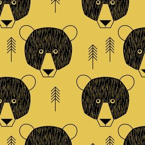geometric bears and trees on gold