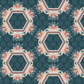 Blue and Peach Lotus Blossom Hexagon Floral Print